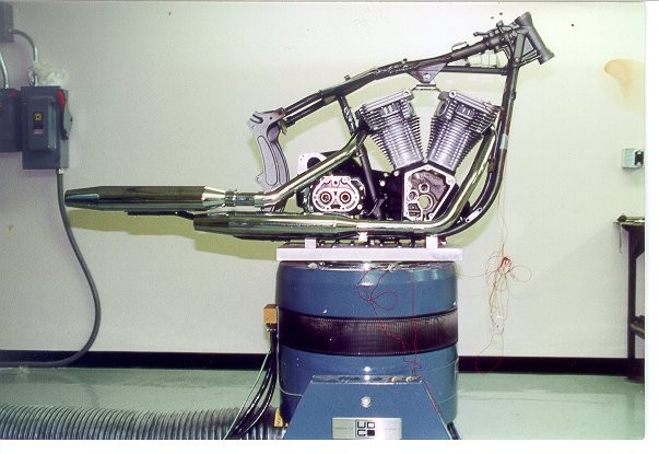 A motorcycle frame mounted on an S202 shaker for vibration tests