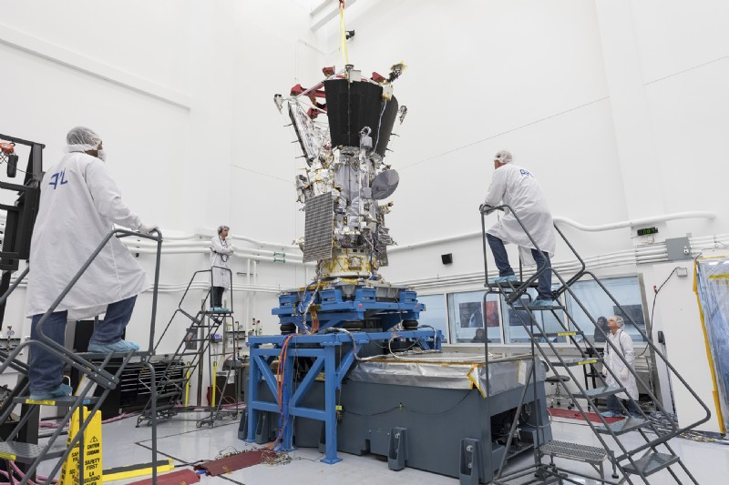 NASA's Parker Solar Probe is shaken on a T4000 at Johns Hopkins Applied Physics Laboratory. During and after launch aboard a Delta IV Heavy, the world's largest launch vehicle, Parker Solar Probe will undergo immense shaking and vibration.