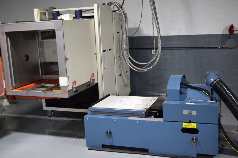 Temperature and humidity controlled chamber can slide over the shaker system at JTL America.